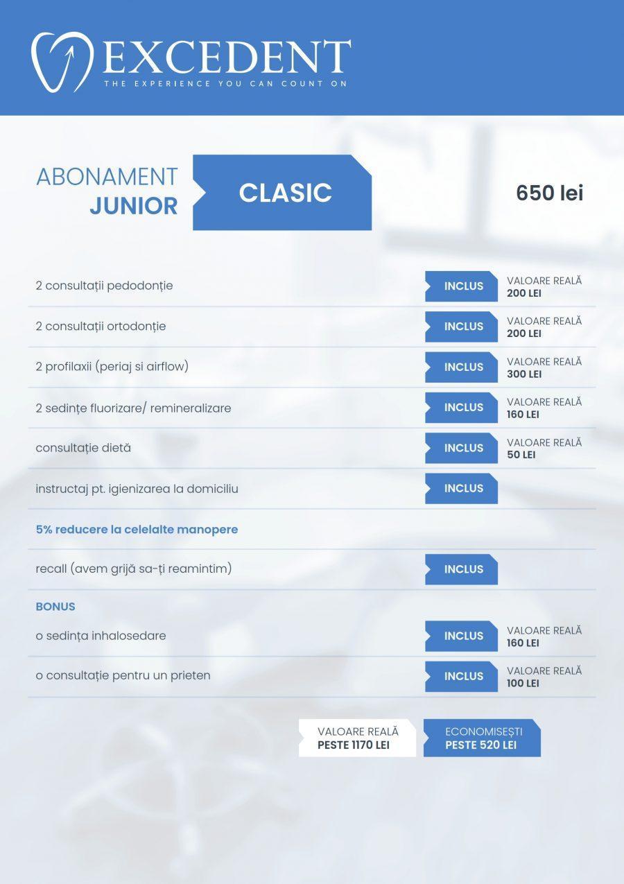 Clinica Excedent Abonament junior clasic continut